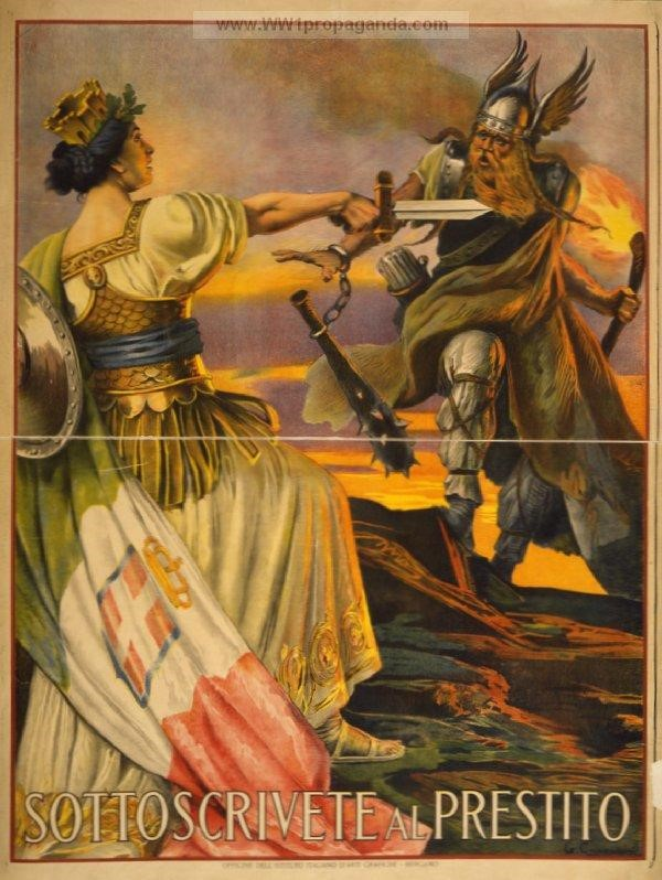 """Sottoscrivete al prestito."" An Italian propaganda poster from World War I. (World War I Propaganda Posters)"