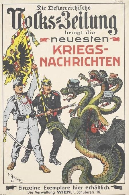 Austro-Hungarian soldiers face off against the multi-headed hydra of the Entente Powers in this World War I propaganda poster. (Reddit)