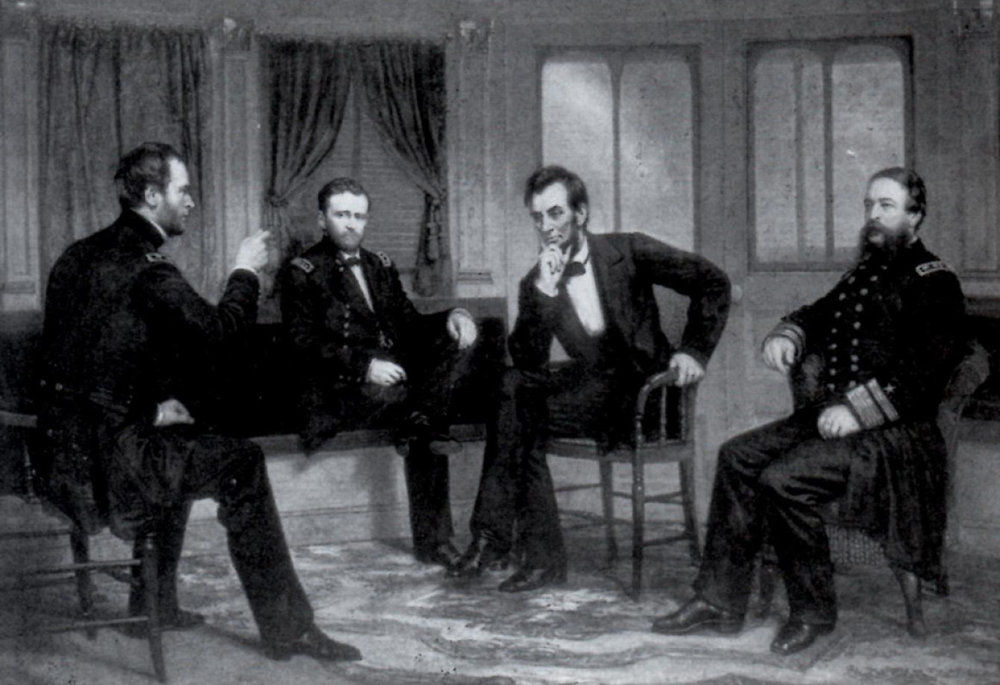 General William T. Sherman, General Ulysses S. Grant, President Abraham Lincoln, and Rear Admiral David Porter (Library of Congress)