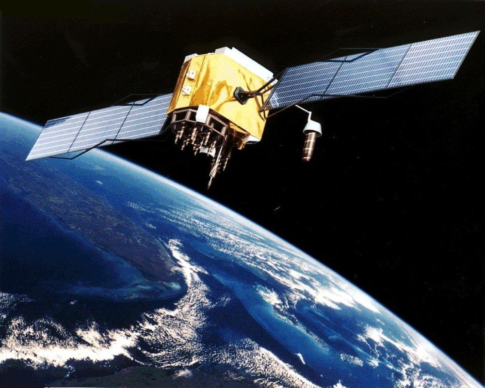 Artist's conception of GPS Block II-F satellite in Earth orbit. (NASA/Wikimedia)