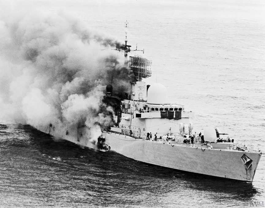 During the Falklands War, the destroyer HMS Sheffield was struck by an AM39 Exocet missile fired from an Argentine aircraft six miles away. HMS Sheffield was the first British warship to be lost in action since the Second World War. Twenty members of the crew were killed. (Imperial War Museum)