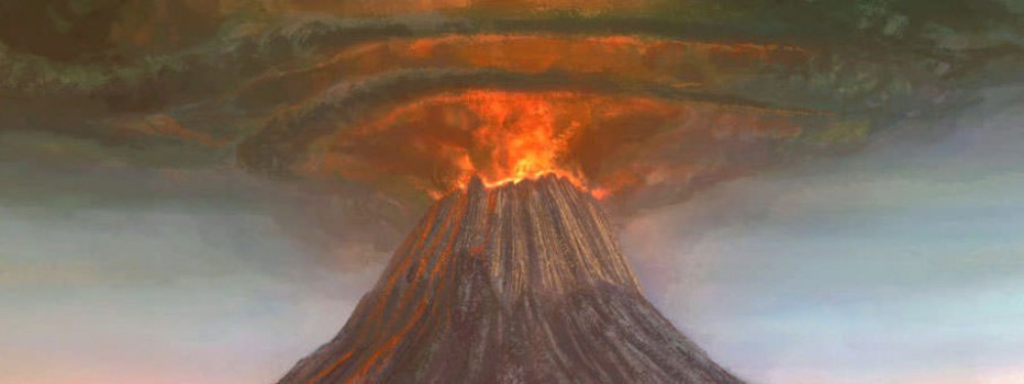 Artist's representation of Mount Tambora in 1815 (Leonardo Newtonic)