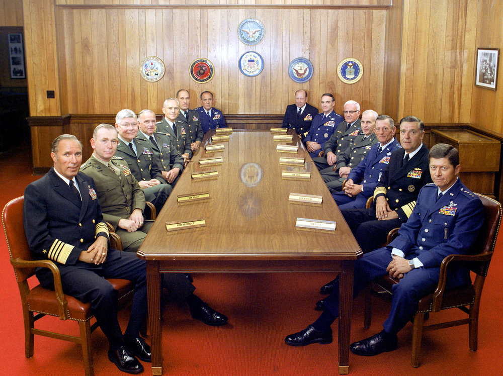 The Joint Chiefs of Staff and several combatant commanders, 1 July 1983. (Defense Visual Information Center/Wikimedia)