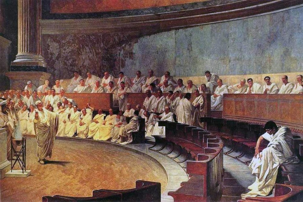 A fresco by Cesare Maccari (1840-1919) depicting Roman senator Cicero (106-43 BC) denouncing the conspirator Catiline in the Roman senate. (Palazzo Madama, Rome)