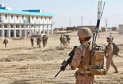 A U.S. Marine carrying a Thor II backpack-mounted counter IED jammer in Nimroz province, Afghanistan, Dec. 2, 2011. (Cpl. Timothy Solano/U.S. Marine Corps Photo)