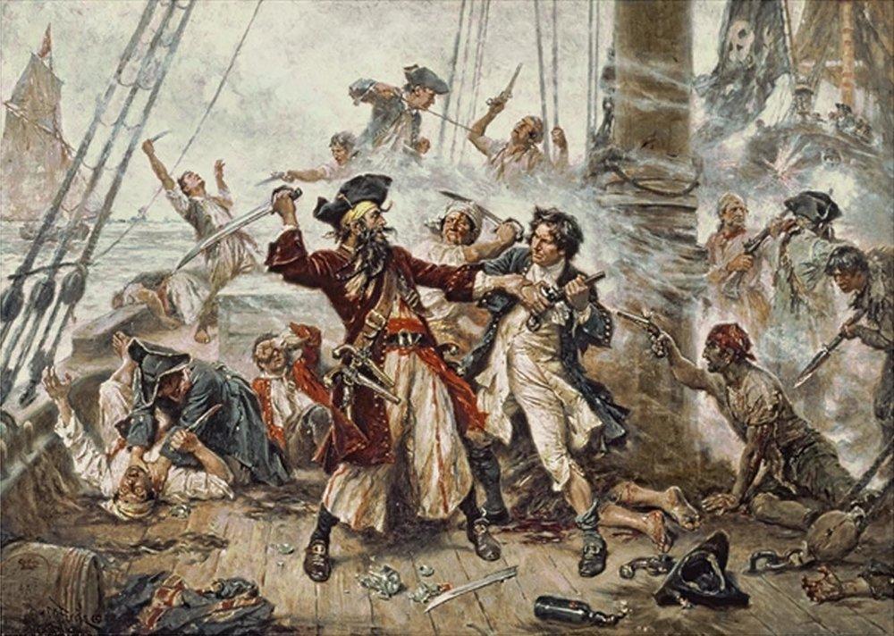 Capture of the Pirate, Blackbeard, 1718 depicting the battle between Blackbeard the Pirate and Lieutenant Maynard in Ocracoke Bay. (Jean Leon Gerome Ferris/Wikimedia)