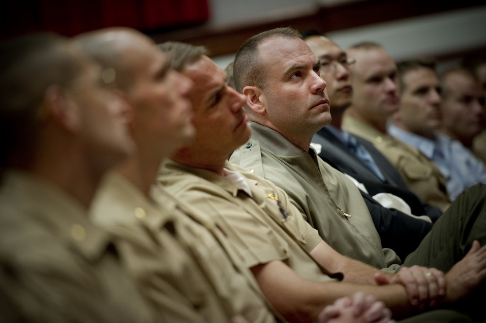 U.S. servicemembers enrolled at Marine Corps Command and Staff College listen to Admiral Mike Mullen, chairman of the Joint Chiefs of Staff in 2010. (Petty Officer 1st Class Chad McNeeley/DoD Photo)