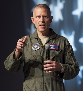Lt. Gen. Steven Kwast, commander of Air Education and Training Command, speaks to attendees of the 2018 Air Force Association Air Warfare Symposium in Orlando, Fla., Feb. 22. (SSgt Kenneth W. Norman/U.S. Air Force Photo)
