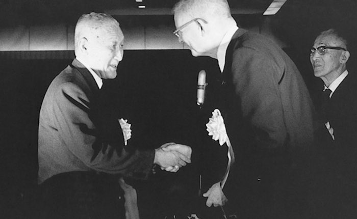 Professor Deming and Toyota President Fukio Nakagawa at the Deming Prize award ceremony in 1965 (The W. Edwards Deming Institute Blog)