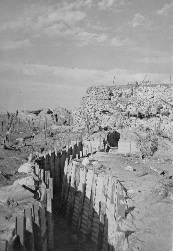 A trench and bunker of the Israeli Bar Lev Line, from Military Battles on the Egyptian Front by Gammal Hammad. (Wikimedia)