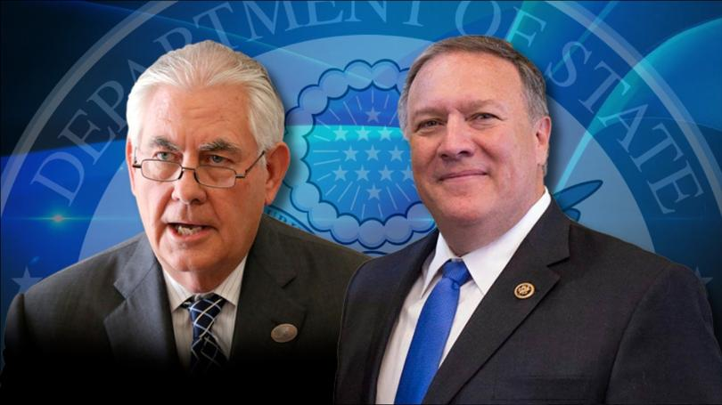 Former U.S. Secretary of State Rex Tillerson and current Secretary Mike Pompeo (WILX)