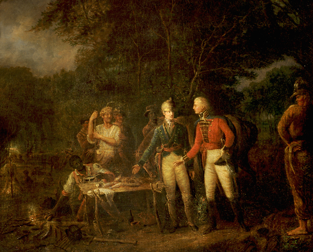 """General Marion Inviting a British Officer to Share His Meal"" painted by John Blake White (Wikimedia)"