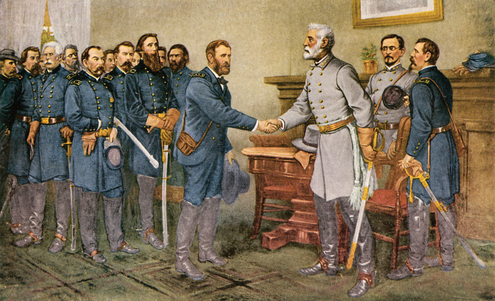 The surrender of General Lee to General Grant at Appomattox Court House, Virginia, 9 April 1865. Reproduction of a painting by Thomas Nast. (Wikimedia)