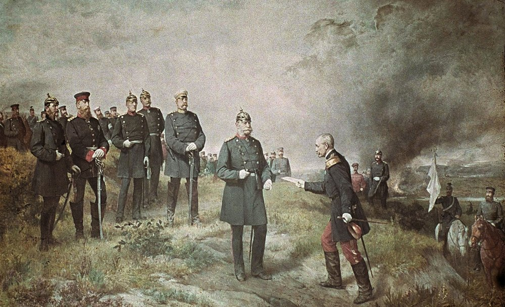 A mural painted in 1884 by Carl Steffeck depicts General Reille delivering Napoleon III's letter of surrender to King William I at the Battle of Sedan on 1 September 1870. (Wikimedia)