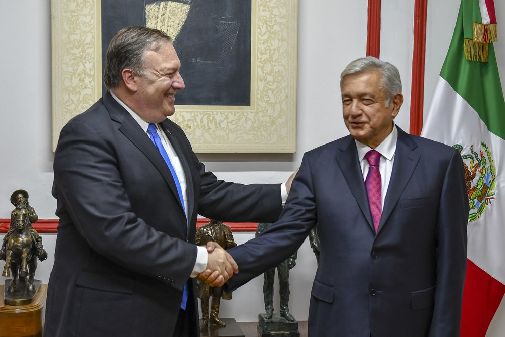 U.S. Secretary of State Michael R. Pompeo meets with Mexican President-elect Andres Manuel Lopez Obrador in Mexico City, Mexico on July 13, 2018. (Department of State Photo/Wikimedia)