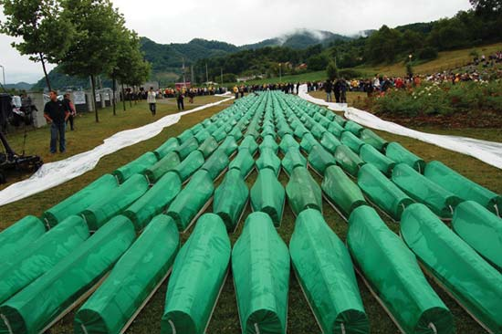 Coffins containing the remains of victims of the 1995 Srebrenica massacre in Bosnia and Herzegovina (Vanderbilt Historical Review)