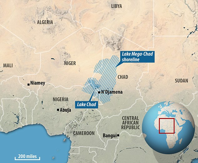 Mega Chad was the biggest freshwater lake on earth covering 139,000 sq miles (360,000 sq km) of Central Africa. The graphic above shows how it has shrunk to just 137 sq miles. (Daily Mail)