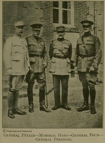 Marshal Pétain, Marshal Haig, Marshal Foch, and General Pershing in 1918 (Wikimedia)