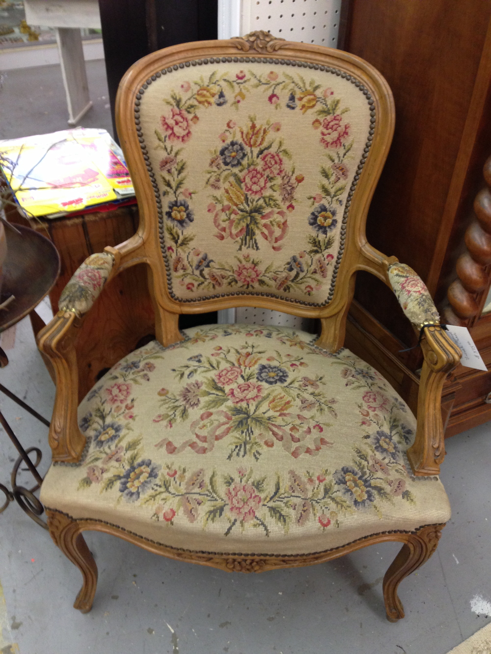 French Fauteuil with needlepoint seat and back.