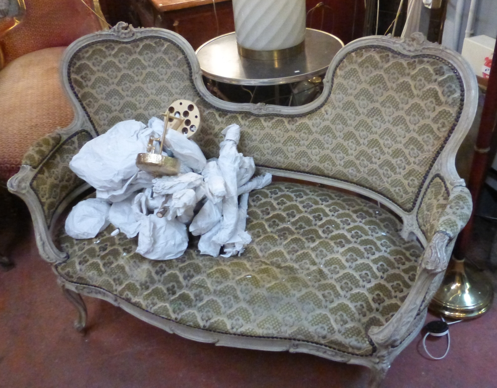 The Napoleon III Settee as I first found it in Monique's shop, before repair.