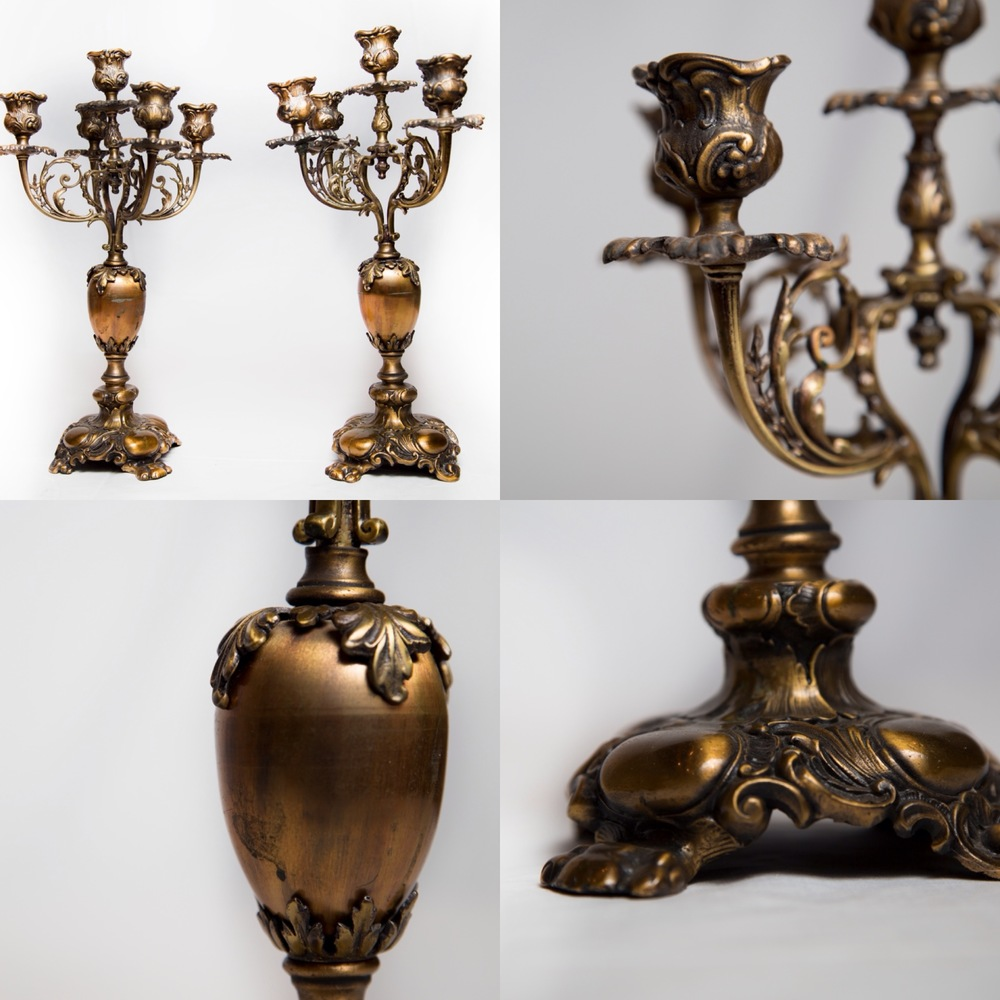 I found these antique French ormolu candelabras at auction and was first drawn to their beautiful lines and patina. With further  research I learned the details of the ormolu process used in the early 1800's and later abandoned due to the use of mercury and the resulting early deaths of the master artisans from mercury poisoning.  The historical story survives.
