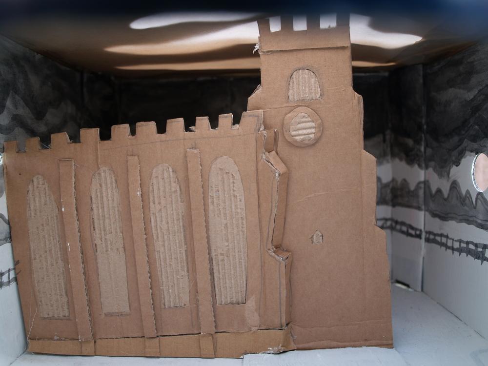 Cardboard sculpture insite peepbox