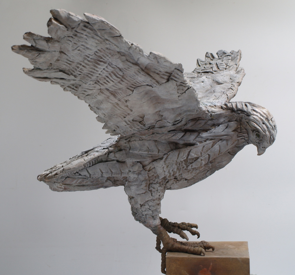 Touch Down - bronze sculpture by Marjan Wouda