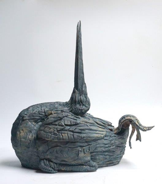 Beak Up - stoneware with cobalt oxide