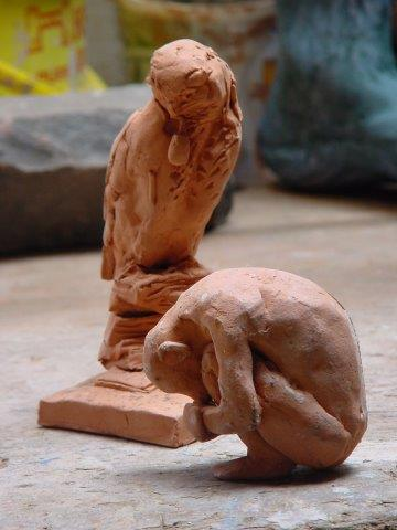2 small clay maquettes in the studio