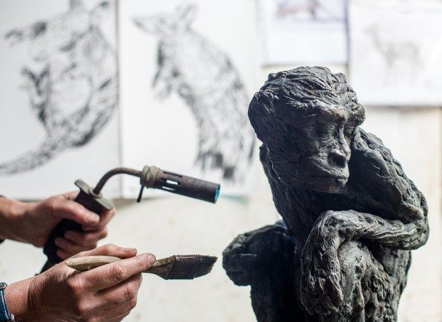 Patination in progress. Photograph by Ana Seddon