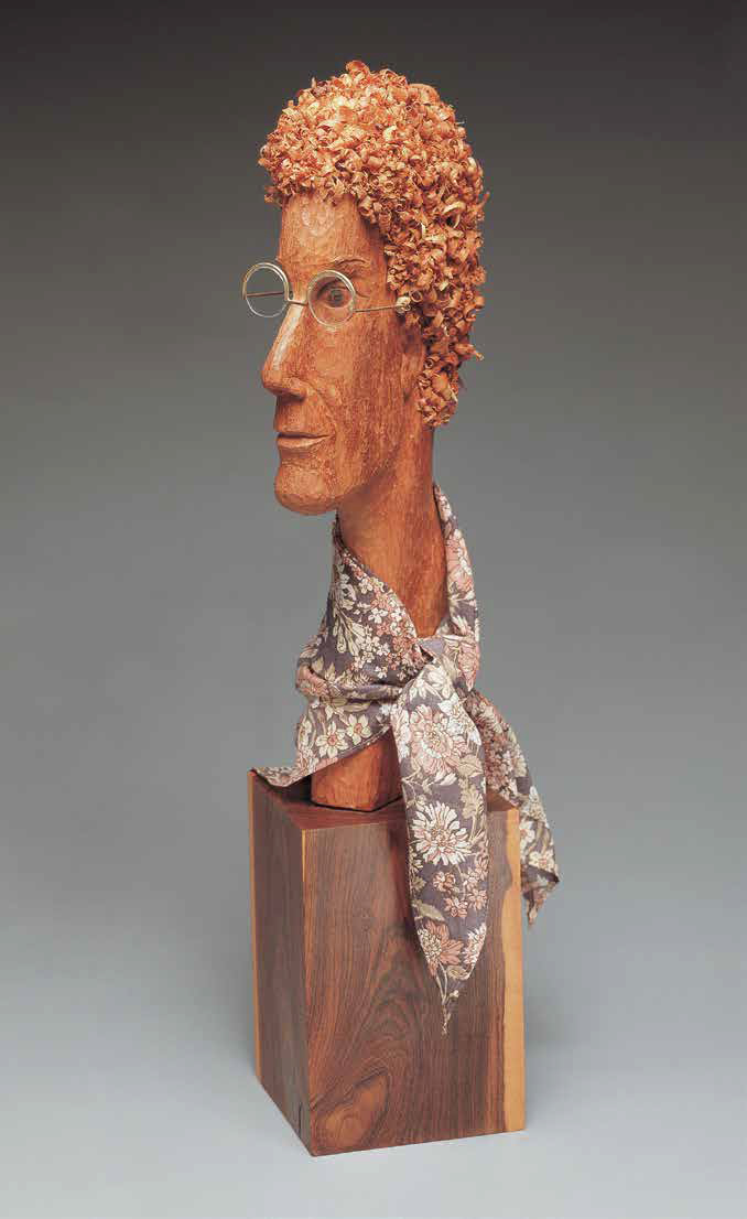 Self-portrait, 1989, Mahogany, scarf, glasses, 72 x 25 x 20 cm