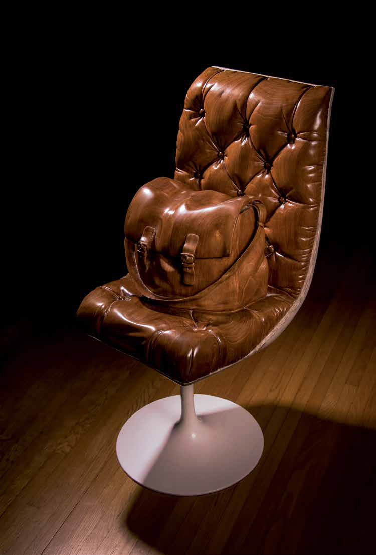 Chair with Bag, 1986, Laminated mahogany, metal, 91 x 45 x 48 cm