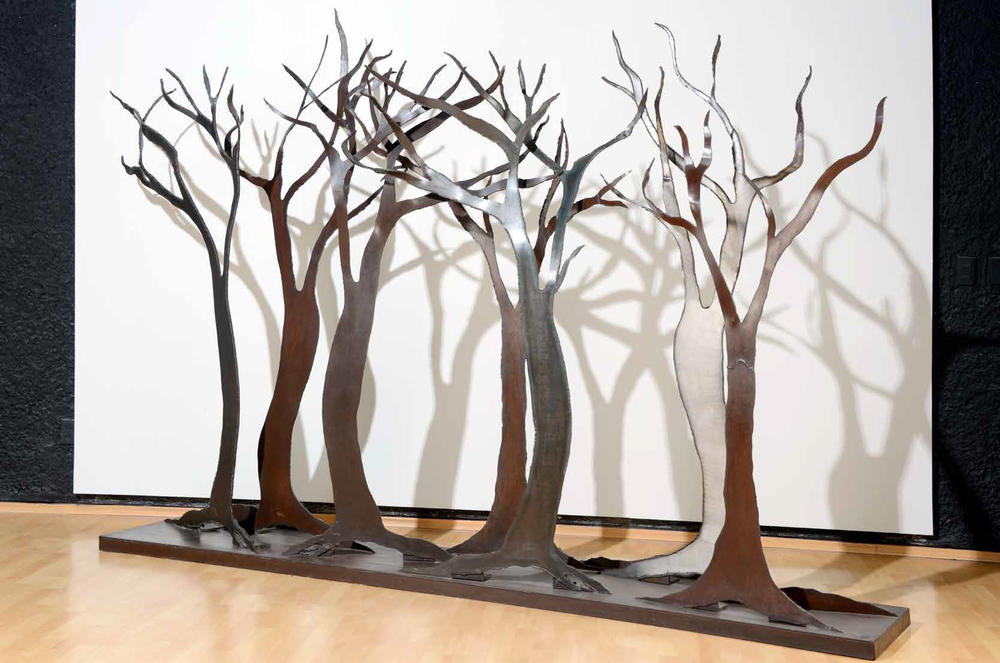 Seven trees, 2009, oxidized steel, 200 x 300 x 55 cm