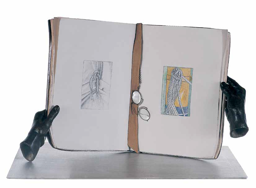 Book with my Hands, 2002, iron, watercolor, paper, glasses, bronze, leather, 36 x 60 x 30 cm