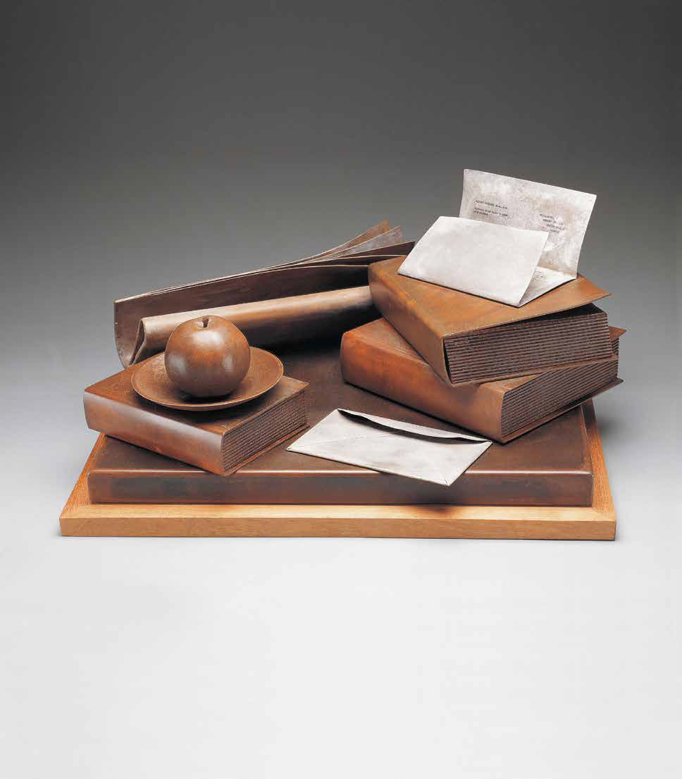 Books with apple, 1999, oxidized steel, photo transfer, wood, 29 x 49.5 x 38 cm