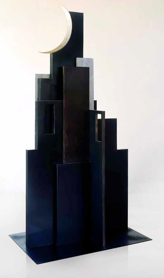 City at night, 2000, painted steel, 215 x 118 x 62 cm