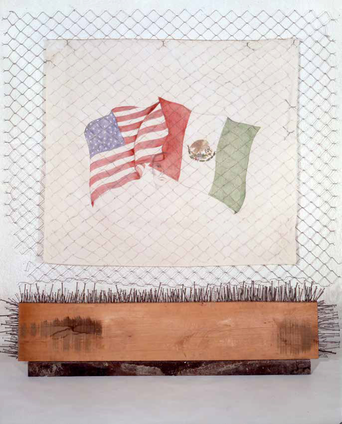 Border Crossing, 1995, Fabric, drawing, acrylic, cyclone fencing, nails, 280 x 250 cm