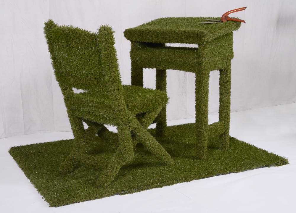 Green dream, artificial grass, wood, grass clipper.