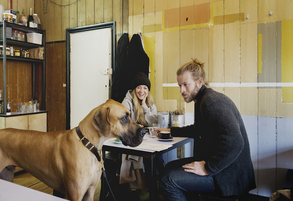 Florence, James and Huxley the Great Dane in Fingers Crossed Cafe.