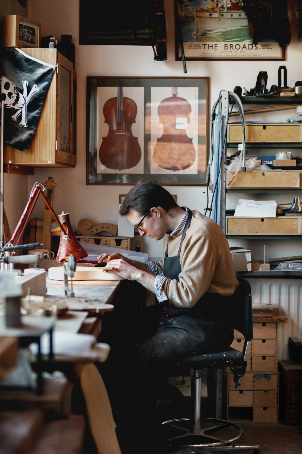 Rob working on restoring a violin
