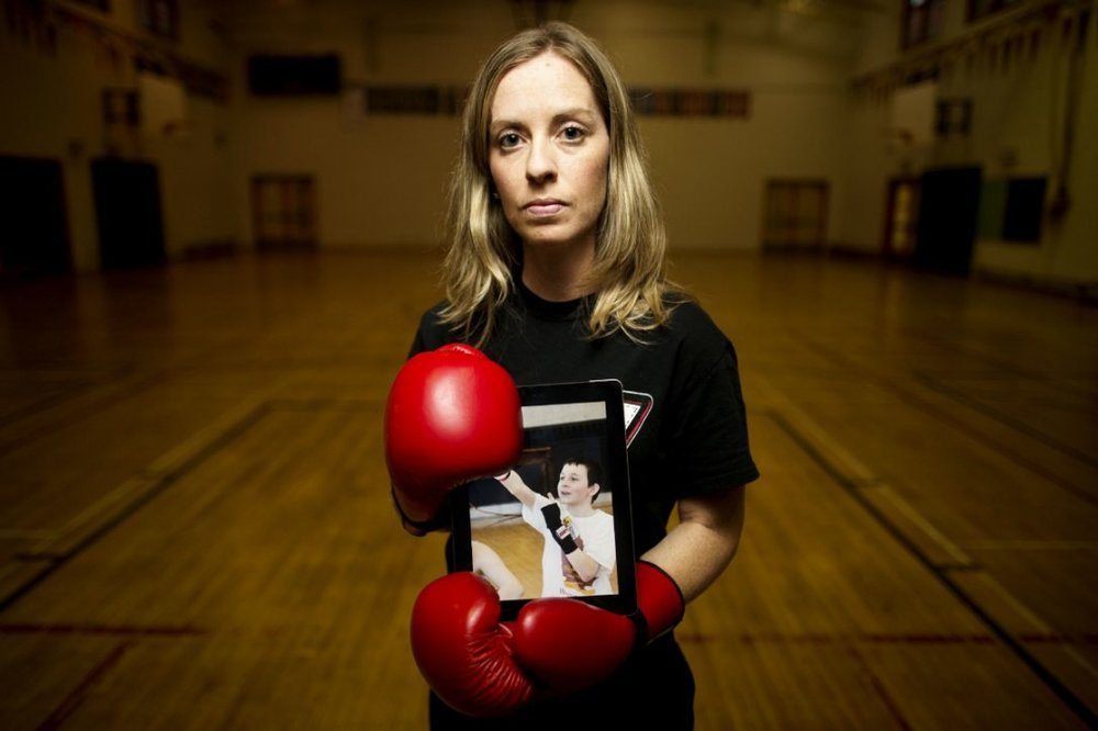 Miranda Kamal ran a boxing club at Parkdale Public School, with local police, that drew more than 20 Roma students. The children were crazy for boxing, including Ferike Molnor (photo).    (CARLOS OSORIO / TORONTO STAR)