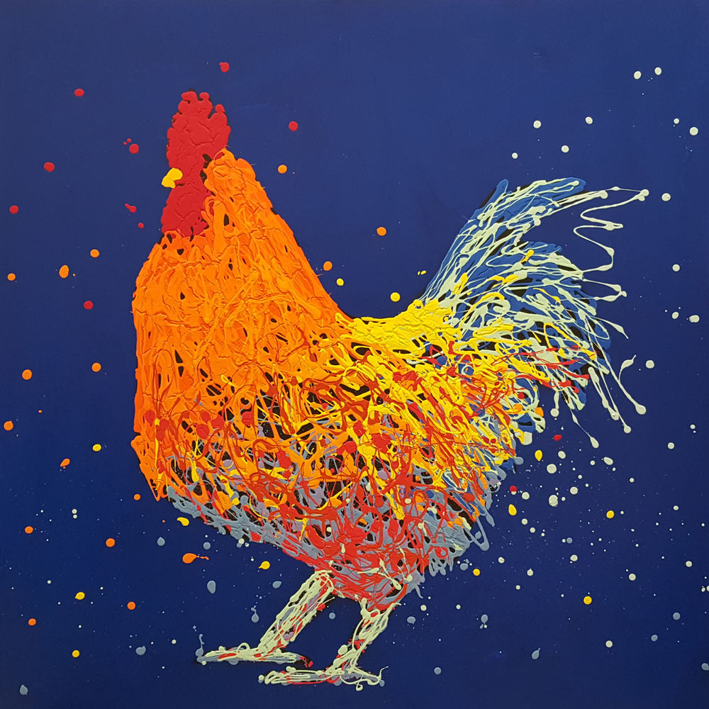"Ivan The Rooster-acrylic on canvas 48"" x 48"""