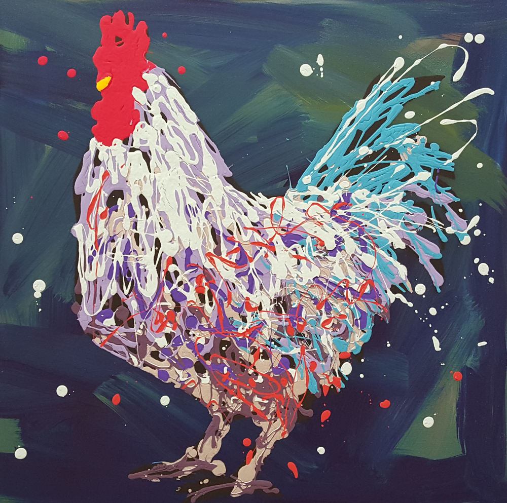 "Jimmy The Rooster-acrylic on canvas 24"" x 24"""