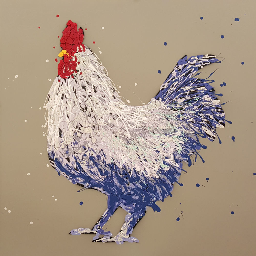 "Barnie The Rooster-acrylic on canvas 48"" x 48"""