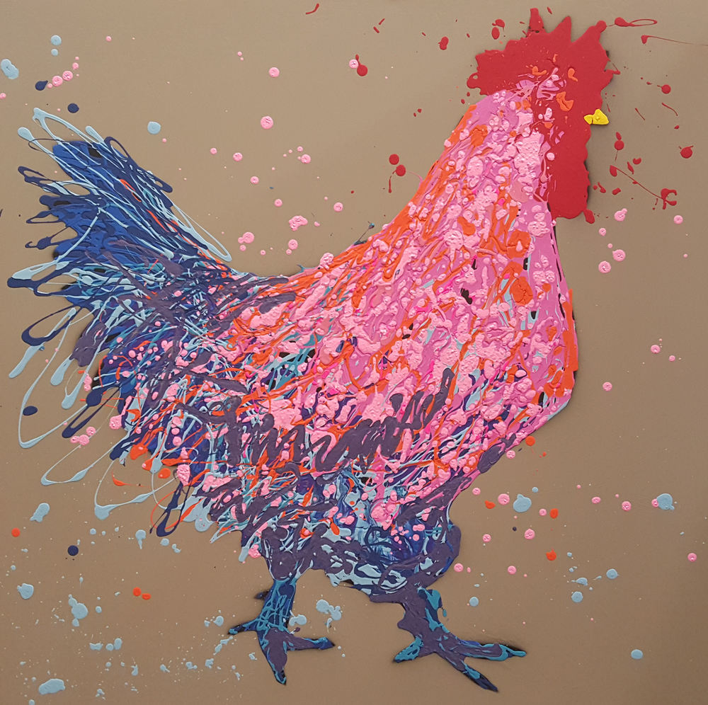 "Angus The Rooster-acrylic on canvas 36"" x 36"""