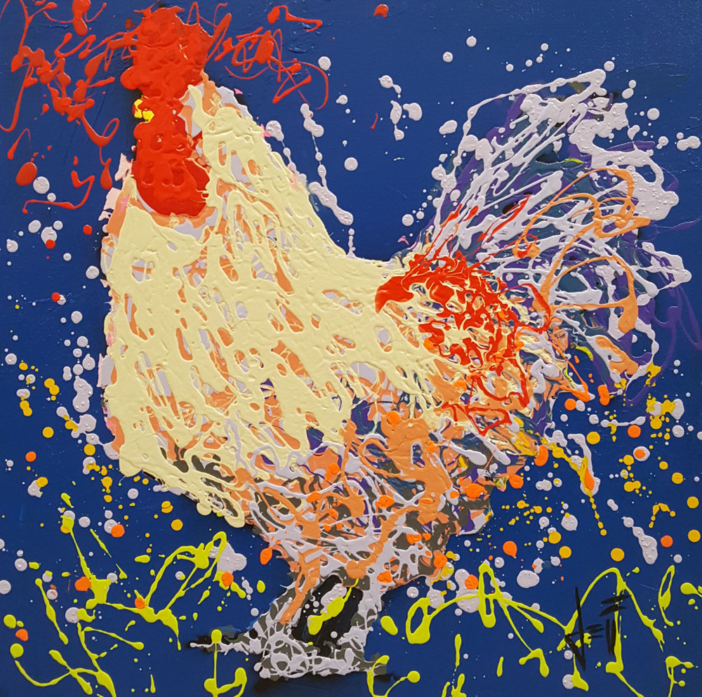 "Irving The Rooster-acrylic on canvas 24"" x 24"""