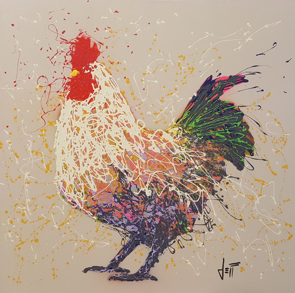 "Zachary The Rooster-acrylic on canvas 48"" x 48"""