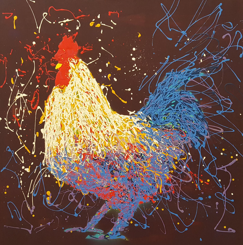 "Oscar The Rooster-acrylic on canvas 48"" x 48"""
