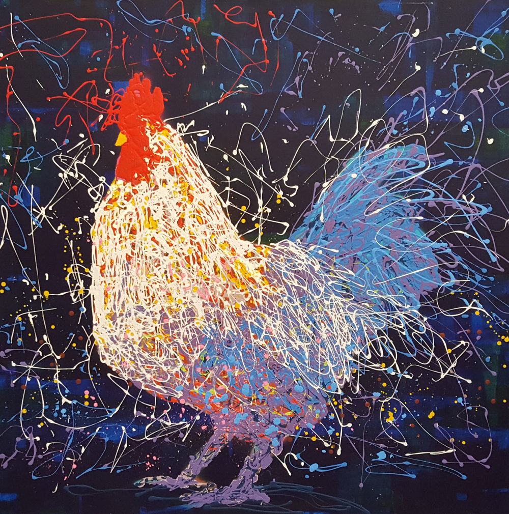 "Paolo The Rooster-acrylic on canvas 48"" x 48"""