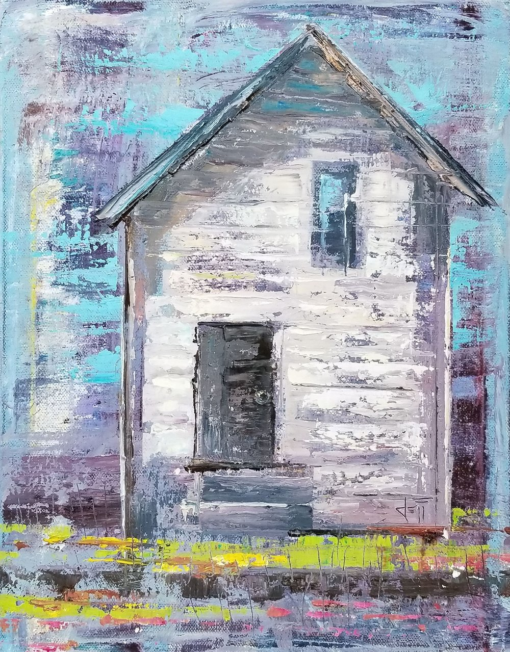 "Old Farmhouse-oil on canvas 14"" x 11"""